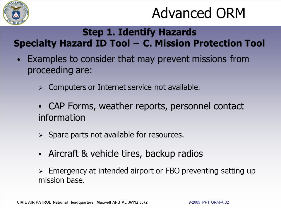 Advanced ORM CIVIL AIR PATROL National Headquarters, Maxwell AFB AL 36112-5572 9-2009 PPT ORM-A.32 Examples to consider that may prevent missions from