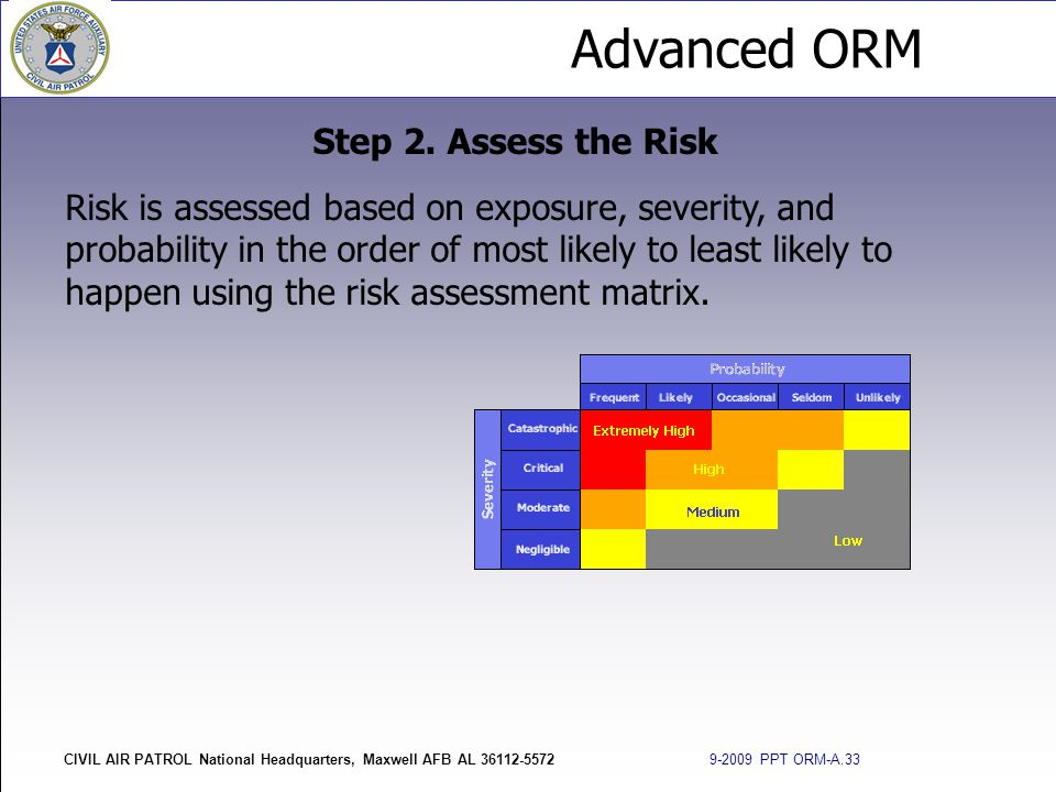 Advanced ORM CIVIL AIR PATROL National Headquarters, Maxwell AFB AL 36112-5572 9-2009 PPT ORM-A.33 Step 2. Assess the Risk Risk is assessed based on e