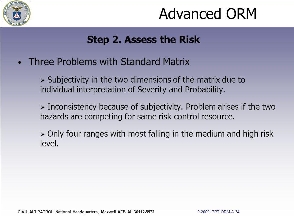 Advanced ORM CIVIL AIR PATROL National Headquarters, Maxwell AFB AL 36112-5572 9-2009 PPT ORM-A.34 Three Problems with Standard Matrix  Subjectivity