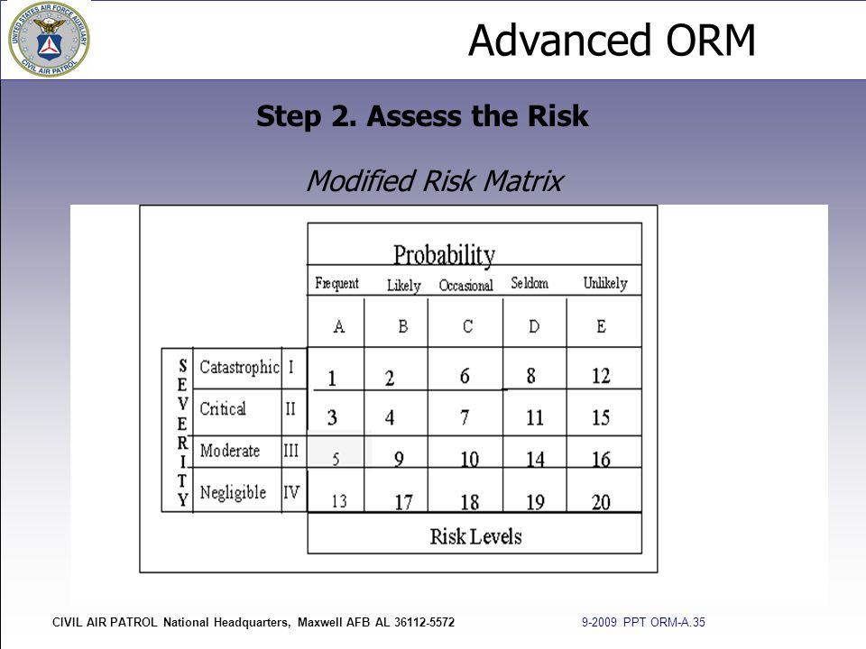 Advanced ORM CIVIL AIR PATROL National Headquarters, Maxwell AFB AL 36112-5572 9-2009 PPT ORM-A.35 Modified Risk Matrix Step 2. Assess the Risk