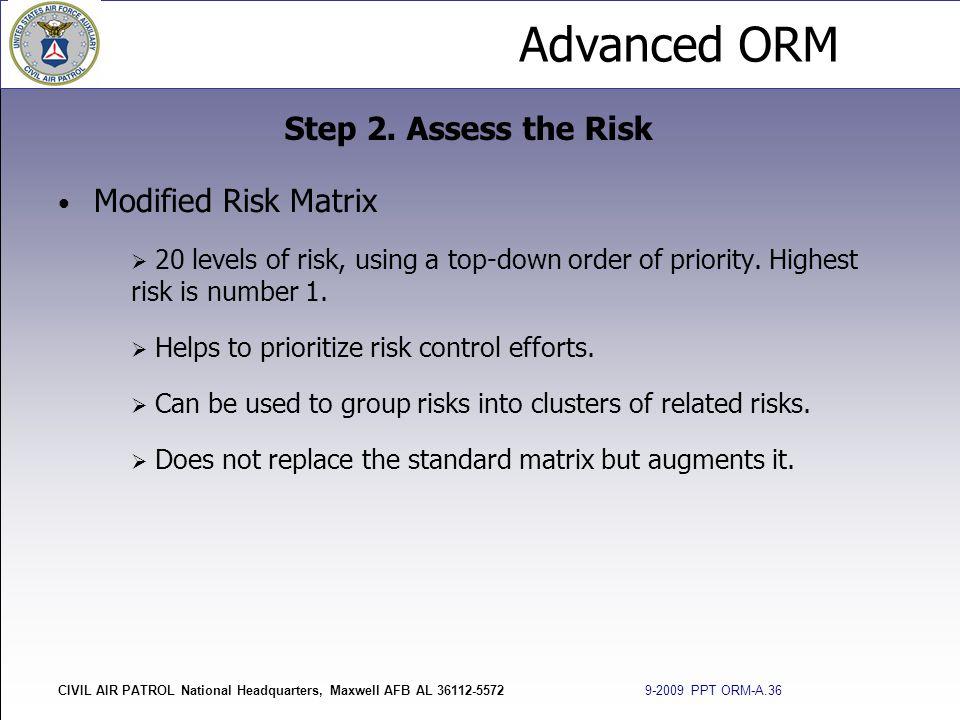 Advanced ORM CIVIL AIR PATROL National Headquarters, Maxwell AFB AL 36112-5572 9-2009 PPT ORM-A.36 Modified Risk Matrix  20 levels of risk, using a t