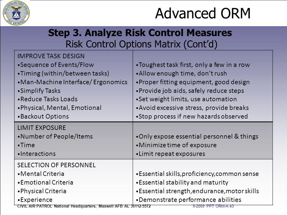Advanced ORM CIVIL AIR PATROL National Headquarters, Maxwell AFB AL 36112-5572 9-2009 PPT ORM-A.43 Step 3. Analyze Risk Control Measures Risk Control