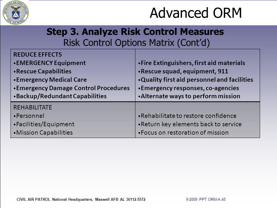 Advanced ORM CIVIL AIR PATROL National Headquarters, Maxwell AFB AL 36112-5572 9-2009 PPT ORM-A.45 Step 3. Analyze Risk Control Measures Risk Control