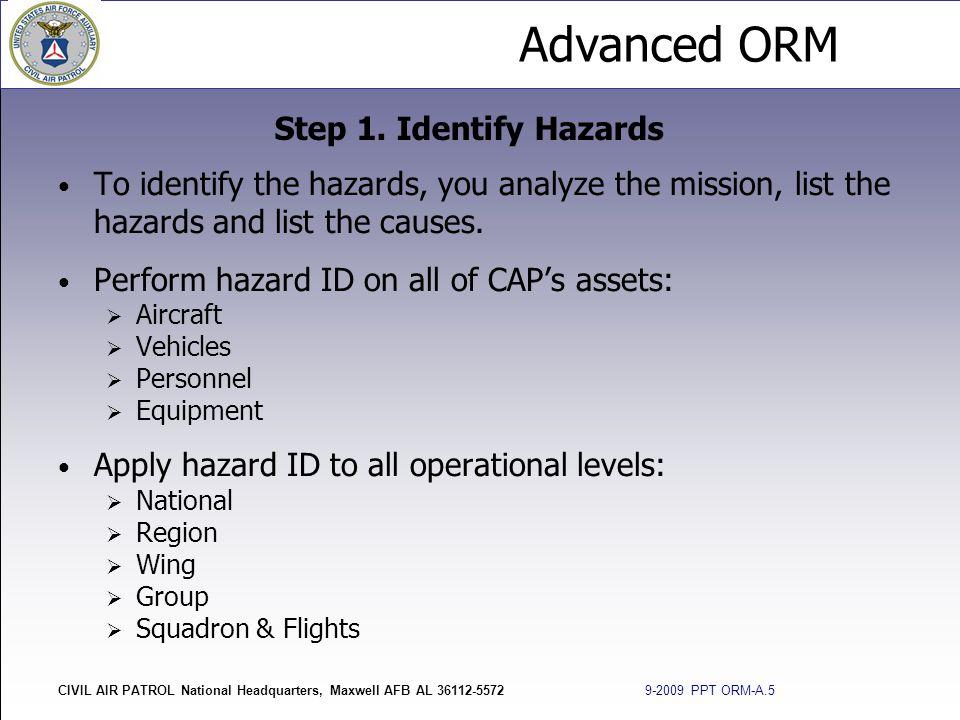 Advanced ORM CIVIL AIR PATROL National Headquarters, Maxwell AFB AL 36112-5572 9-2009 PPT ORM-A.5 To identify the hazards, you analyze the mission, li