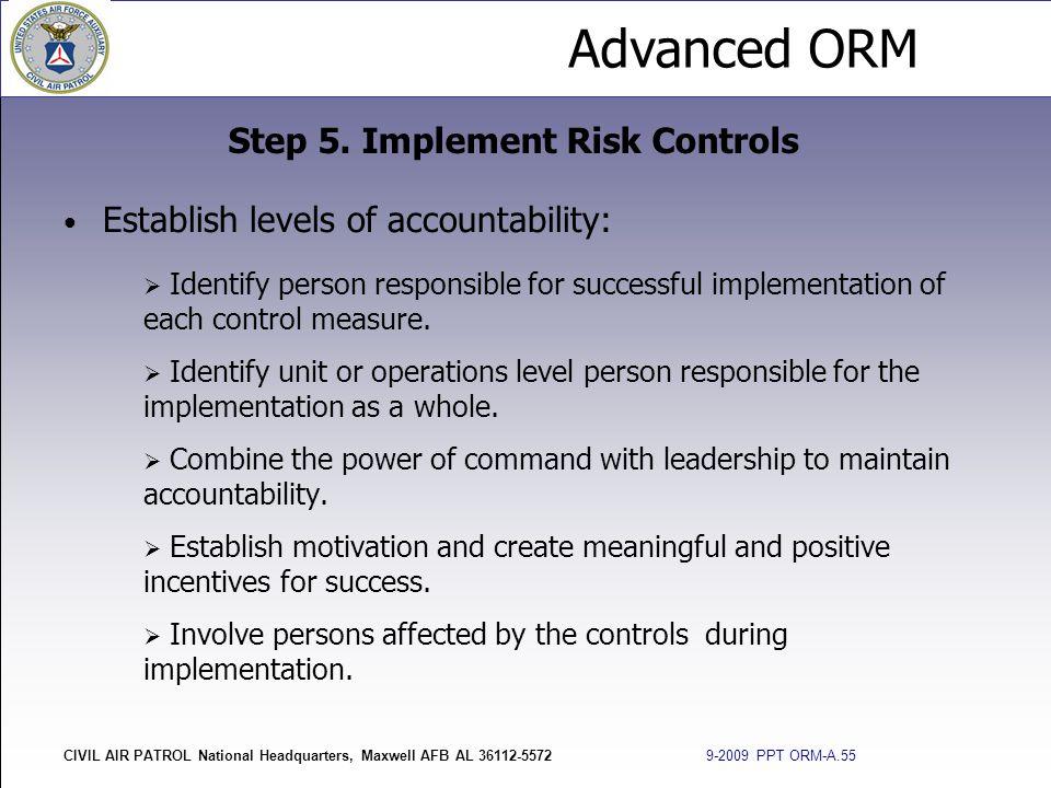 Advanced ORM CIVIL AIR PATROL National Headquarters, Maxwell AFB AL 36112-5572 9-2009 PPT ORM-A.55 Establish levels of accountability:  Identify pers