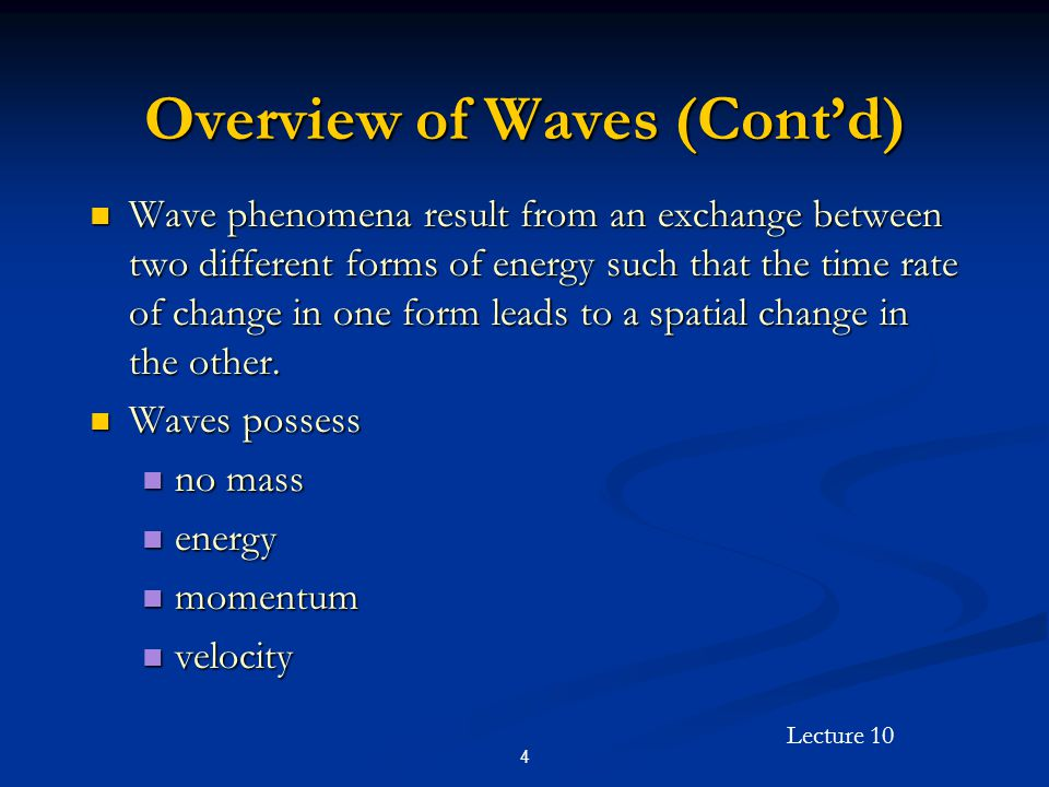 Lecture 10 25 Uniform Plane Wave Solutions in the Time Domain (Cont'd) Relationship between wavelength and frequency in free space: Relationship between wavelength and frequency in free space: Relationship between wavelength and frequency in a material medium: Relationship between wavelength and frequency in a material medium: