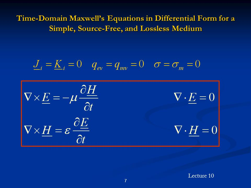 Lecture 10 38 Uniform Plane Wave Solutions in the Frequency Domain (Cont'd) Evaluating H we have Evaluating H we have