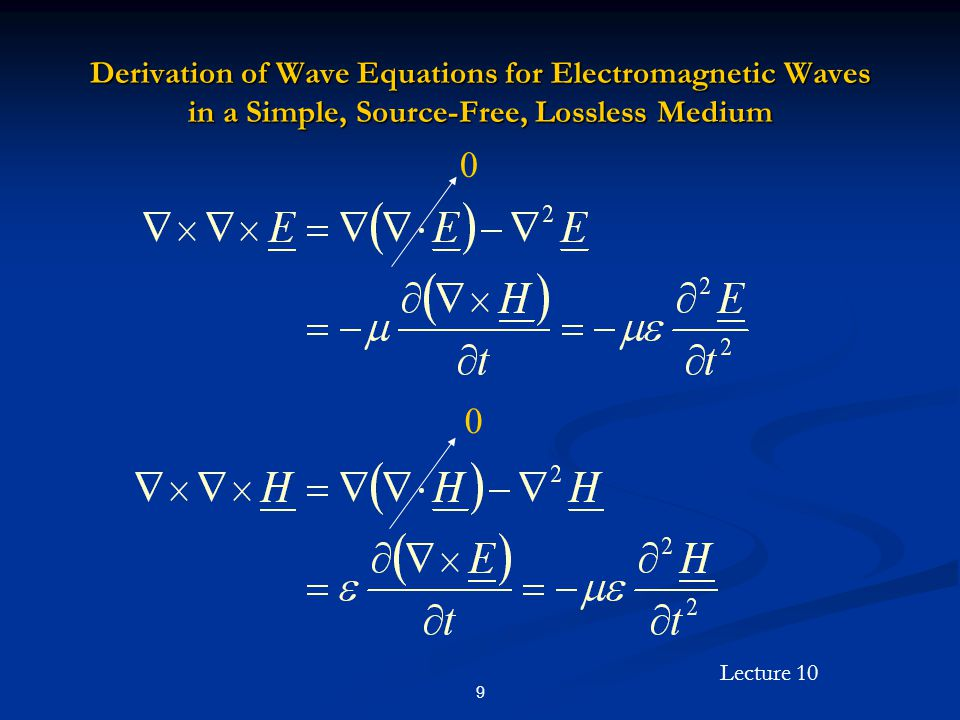 Lecture 10 30 Derivation of Helmholtz Equations for Electromagnetic Waves in a Simple, Source-Free, Possibly Lossy Medium 0 0