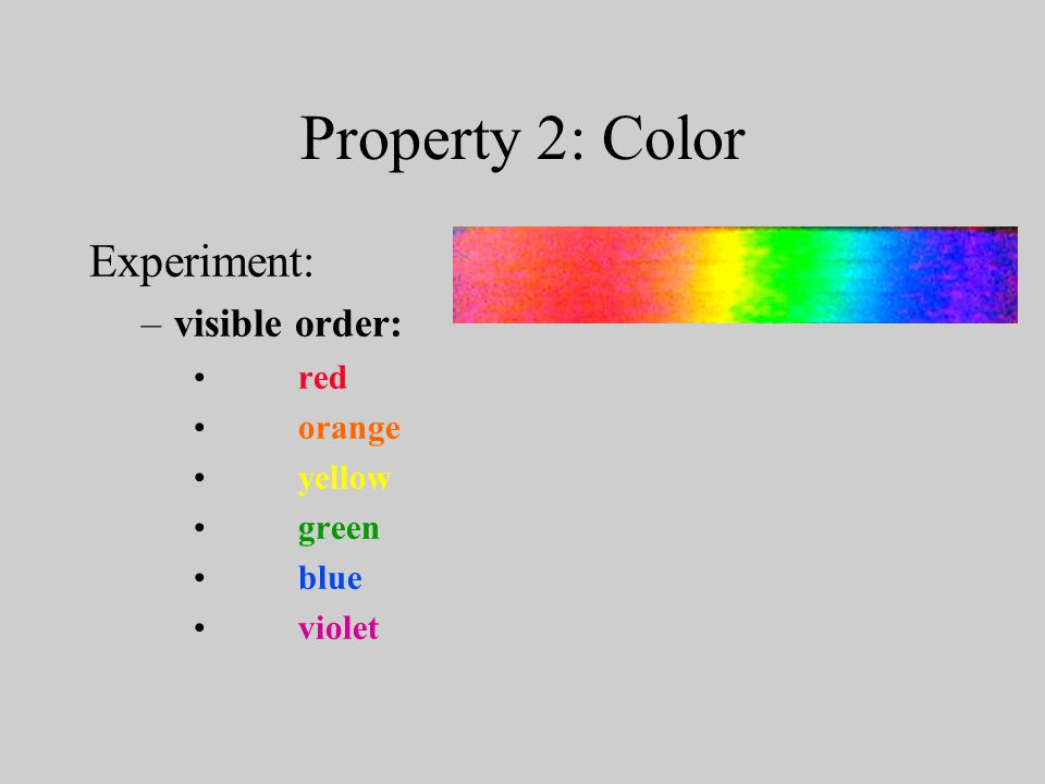 Property 2: Color Experiment: –visible order: red orange yellow green blue violet