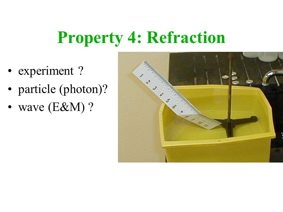 Property 4: Refraction experiment particle (photon) wave (E&M)