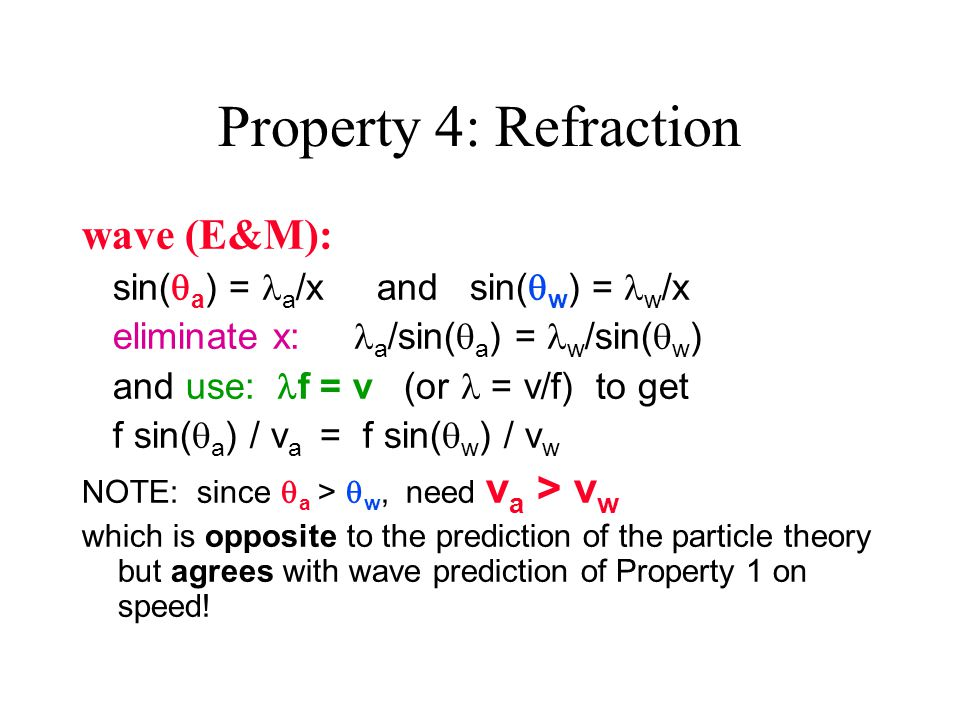 Property 4: Refraction wave (E&M): sin(  a ) = a /x and sin(  w ) = w /x eliminate x: a /sin(  a ) = w /sin(  w ) and use: f = v (or = v/f) to get f sin(  a ) / v a = f sin(  w ) / v w NOTE: since  a >  w, need v a > v w which is opposite to the prediction of the particle theory but agrees with wave prediction of Property 1 on speed!
