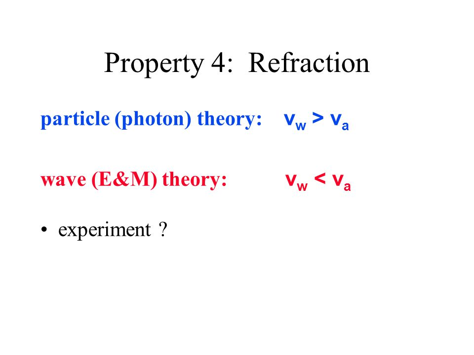 Property 4: Refraction particle (photon) theory: v w > v a wave (E&M) theory: v w < v a experiment