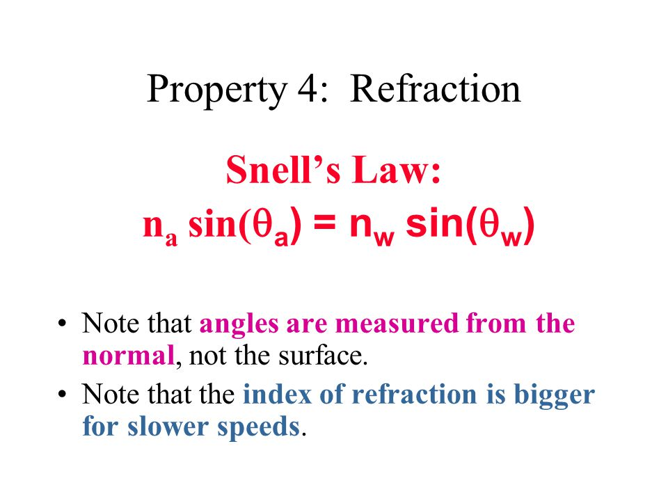 Property 4: Refraction Snell's Law: n a sin(  a ) = n w sin(  w ) Note that angles are measured from the normal, not the surface.