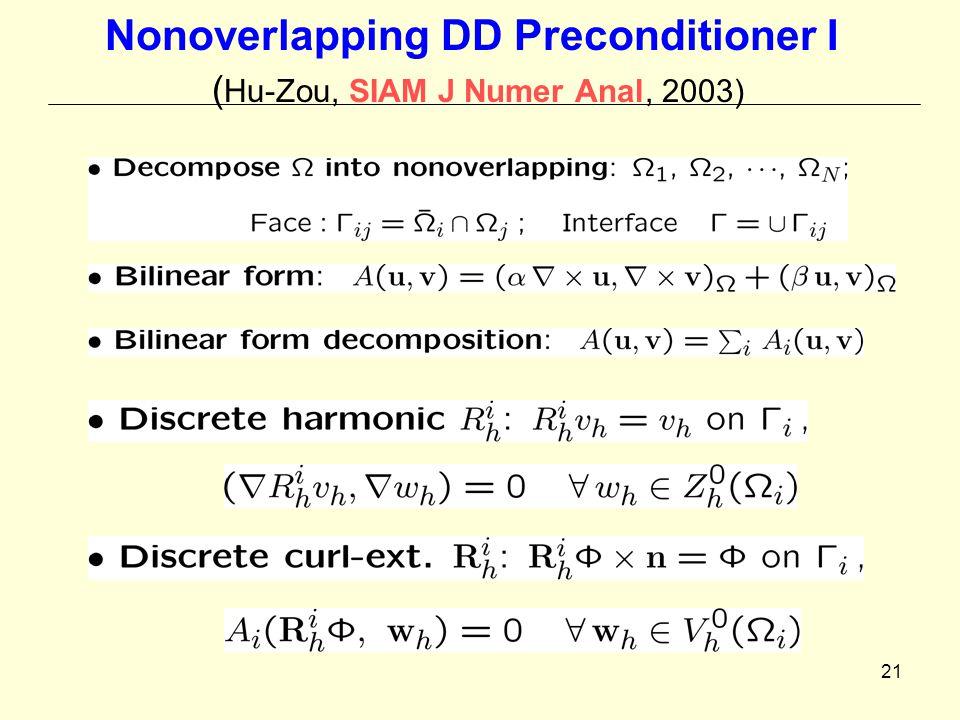 21 Nonoverlapping DD Preconditioner I ( Hu-Zou, SIAM J Numer Anal, 2003)