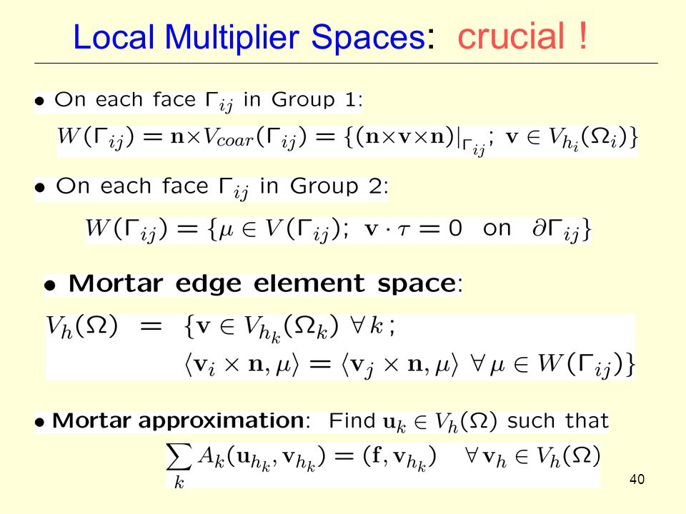 40 Local Multiplier Spaces : crucial !