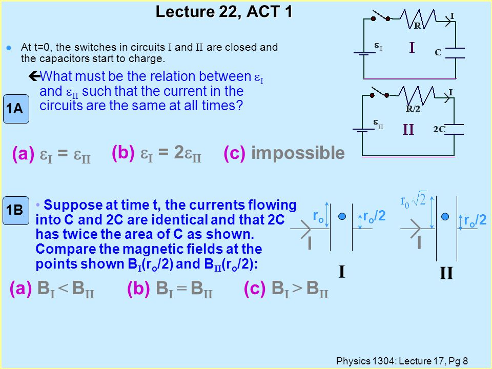 Physics 1304: Lecture 17, Pg 8 Lecture 22, ACT 1 At t=0, the switches in circuits I and II are closed and the capacitors start to charge.