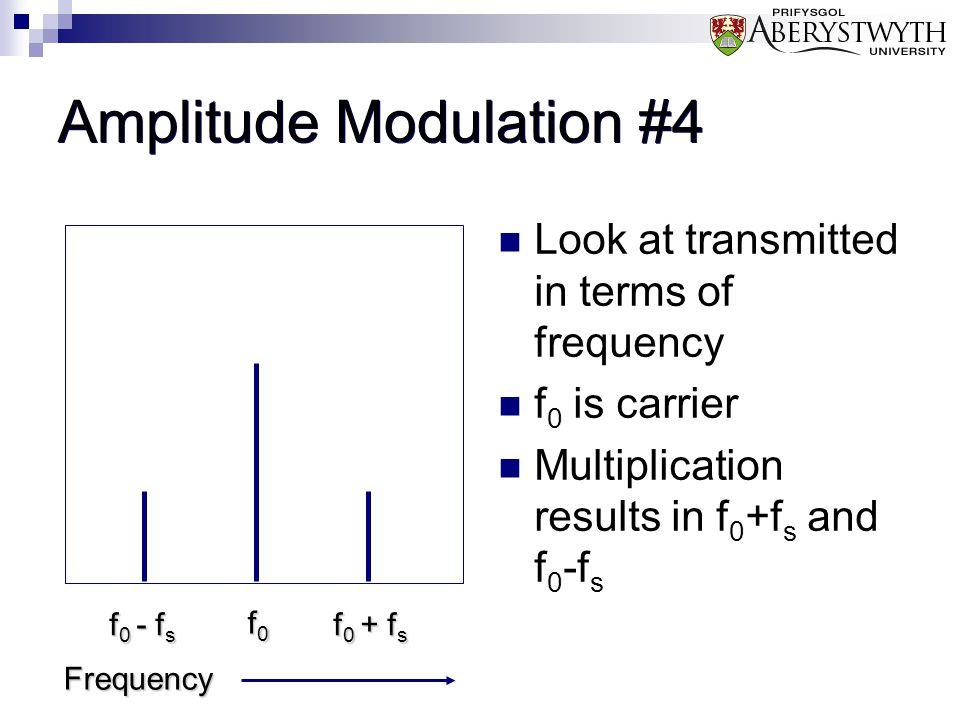 Amplitude Modulation #4 Look at transmitted in terms of frequency f 0 is carrier Multiplication results in f 0 +f s and f 0 -f s Frequency f0f0f0f0 f