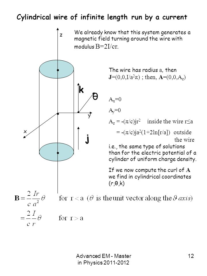 Advanced EM - Master in Physics 2011-2012 12 z y x... j θ k Cylindrical wire of infinite length run by a current We already know that this system gene