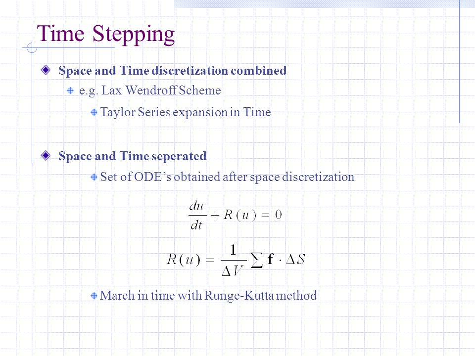 Time Stepping Space and Time discretization combined e.g.