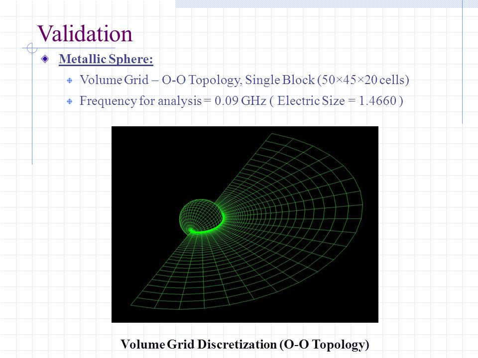 Validation Metallic Sphere: Volume Grid – O-O Topology, Single Block (50×45×20 cells) Frequency for analysis = 0.09 GHz ( Electric Size = 1.4660 ) Volume Grid Discretization (O-O Topology)