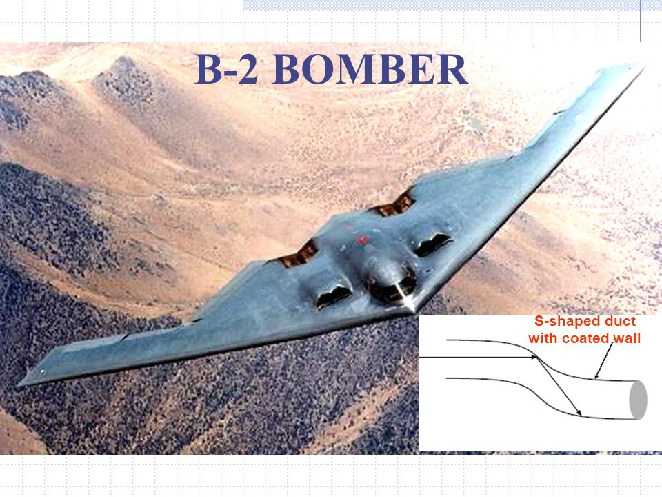 B-2 BOMBER S-shaped duct with coated wall