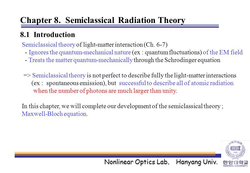 Nonlinear Optics Lab. Hanyang Univ. Chapter 8.