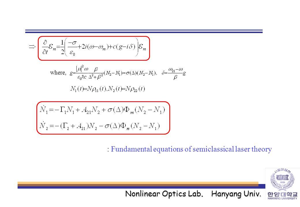 Nonlinear Optics Lab. Hanyang Univ. where, : Fundamental equations of semiclassical laser theory
