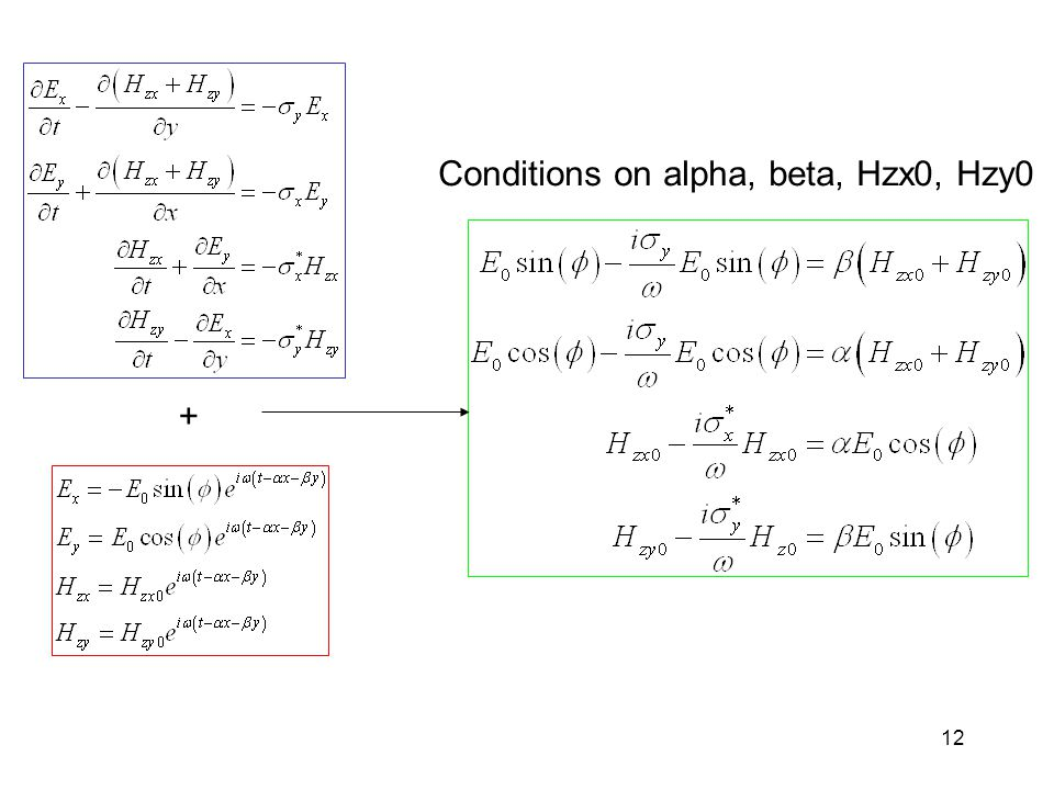 12 + Conditions on alpha, beta, Hzx0, Hzy0