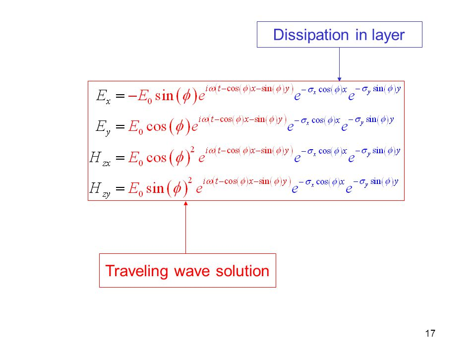 17 Traveling wave solution Dissipation in layer