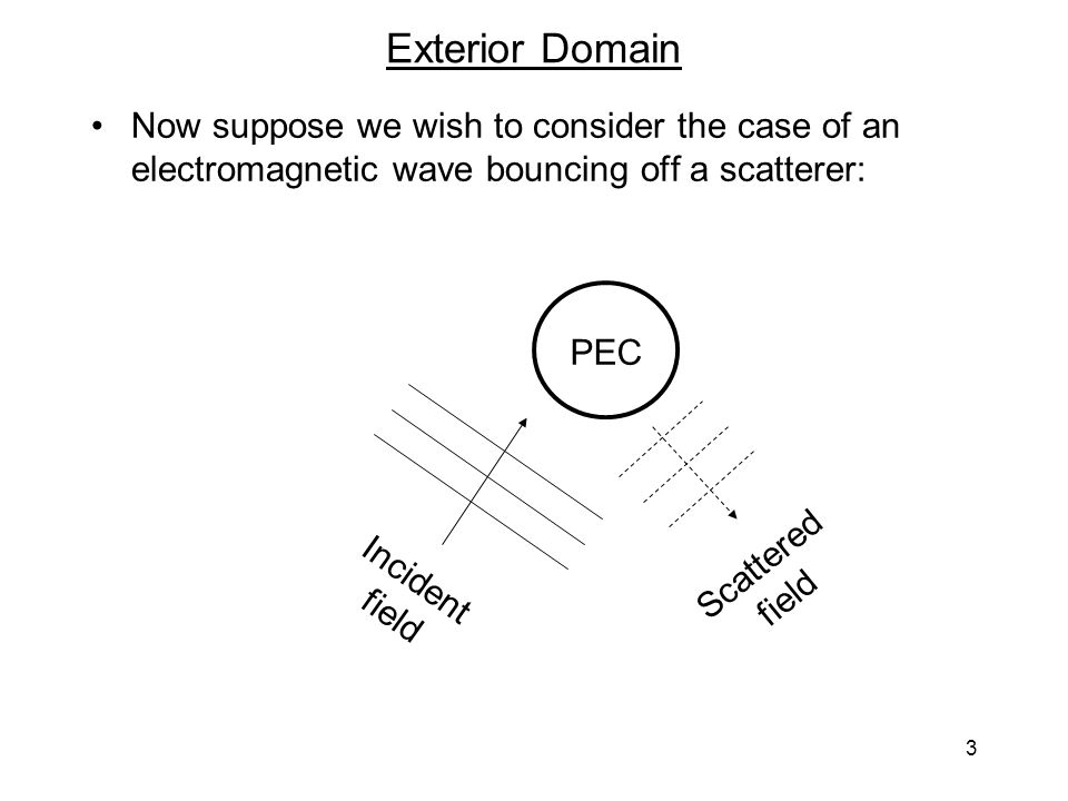 3 Exterior Domain Now suppose we wish to consider the case of an electromagnetic wave bouncing off a scatterer: PEC Incident field Scattered field