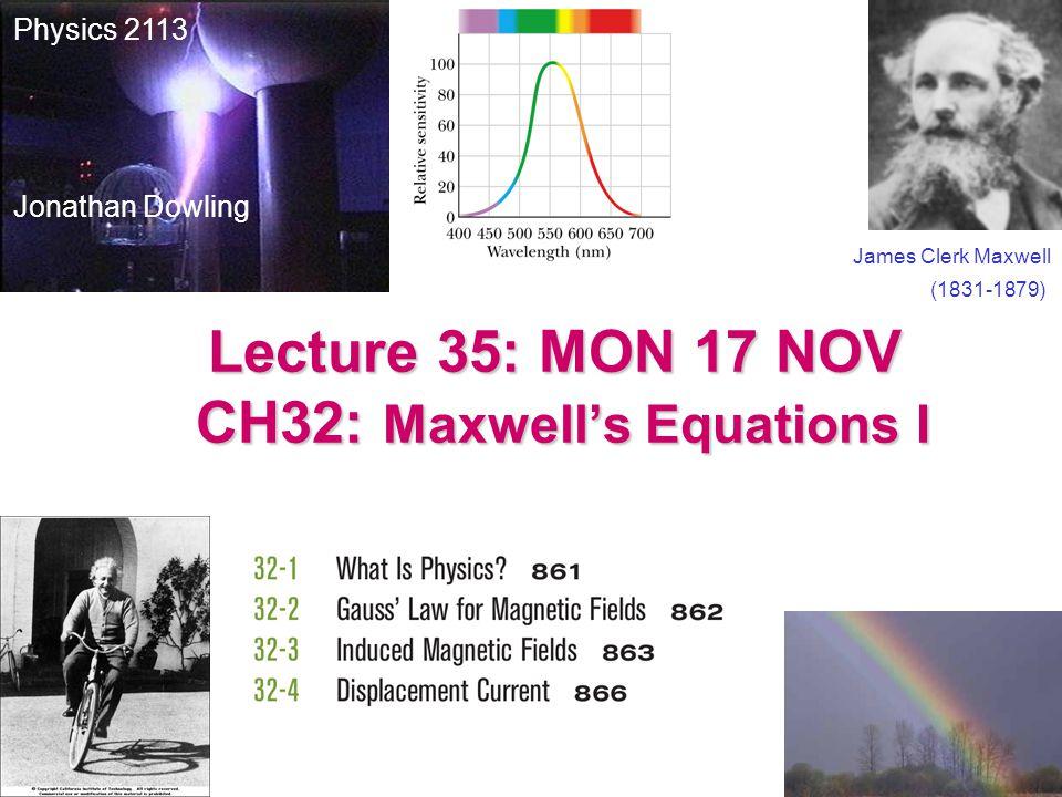 Maxwell's Equations I – V: I II III IV V