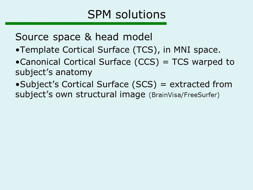 SPM solutions Source space & head model Template Cortical Surface (TCS), in MNI space. Canonical Cortical Surface (CCS) = TCS warped to subject's anat