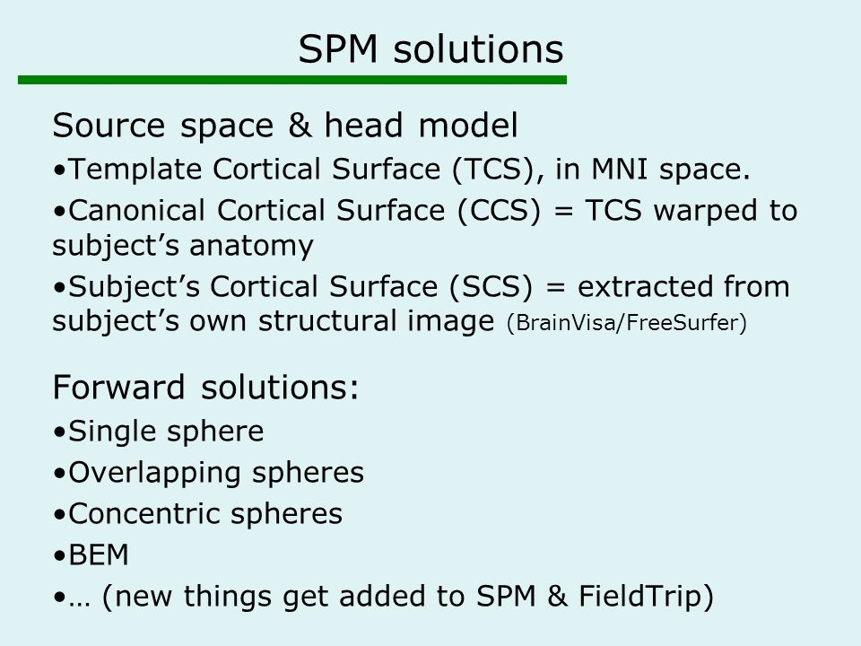 SPM solutions Source space & head model Template Cortical Surface (TCS), in MNI space.