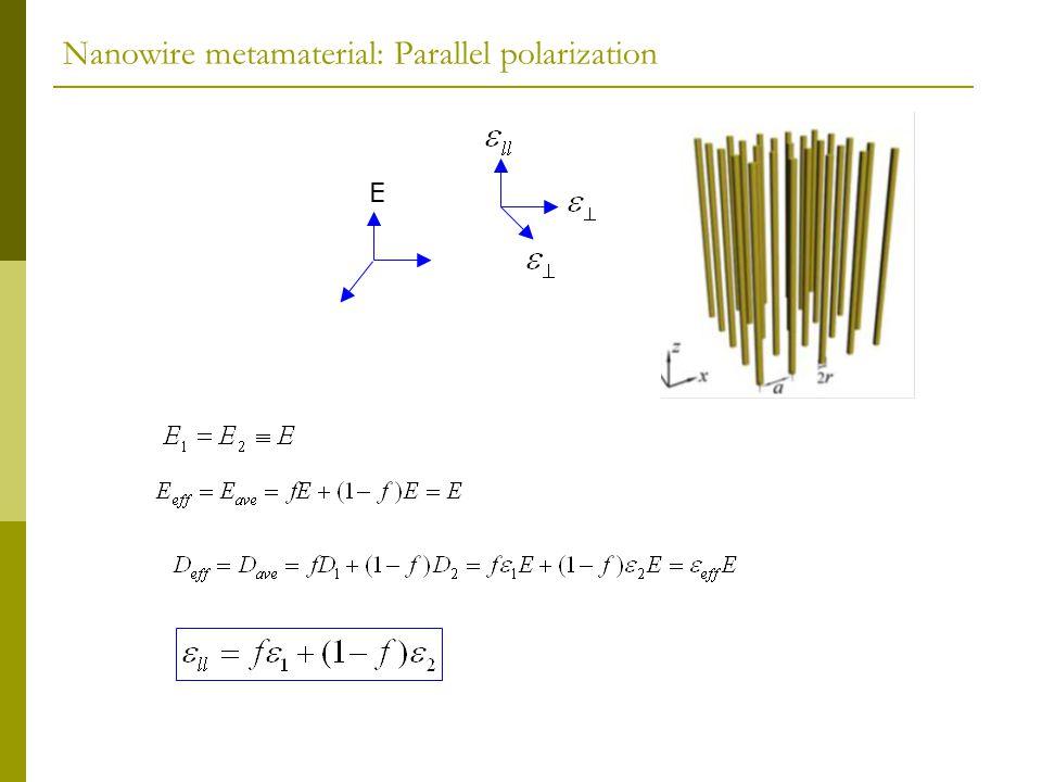 Nanowire metamaterial: Parallel polarization E