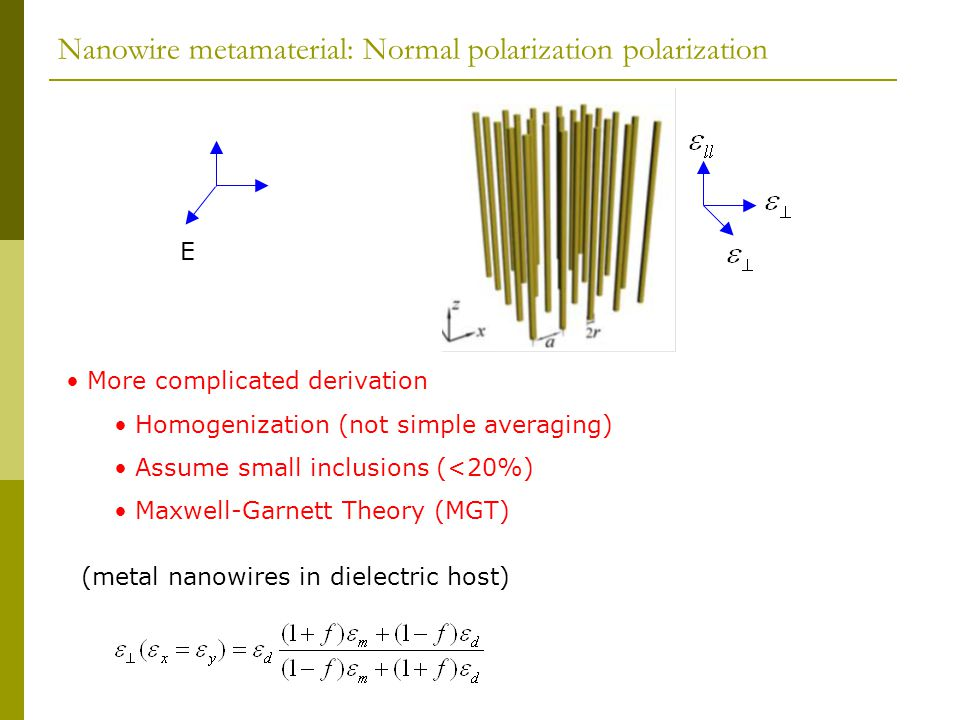 Nanowire metamaterial: Normal polarization polarization E More complicated derivation Homogenization (not simple averaging) Assume small inclusions (<20%) Maxwell-Garnett Theory (MGT) (metal nanowires in dielectric host)