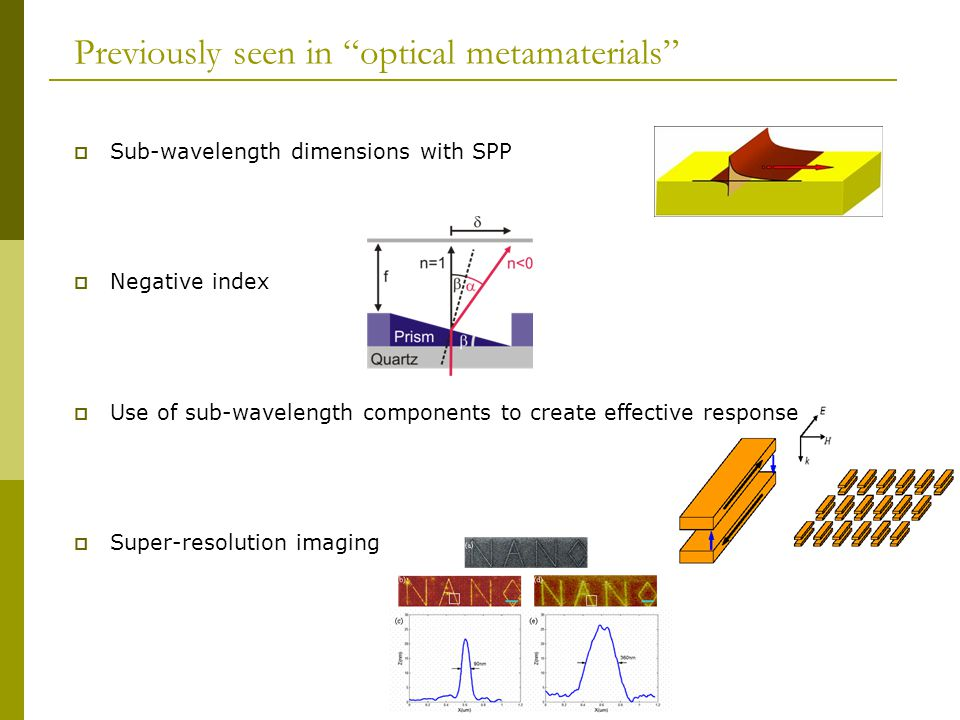 Previously seen in optical metamaterials  Sub-wavelength dimensions with SPP  Negative index  Use of sub-wavelength components to create effective response  Super-resolution imaging