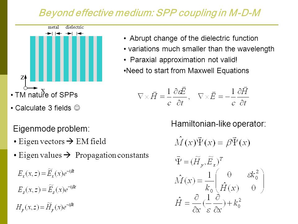 Beyond effective medium: SPP coupling in M-D-M TM nature of SPPs Calculate 3 fields Eigenmode problem: Hamiltonian-like operator: Eigen vectors  EM field Eigen values  Propagation constants z x metaldielectric Abrupt change of the dielectric function variations much smaller than the wavelength Paraxial approximation not valid.