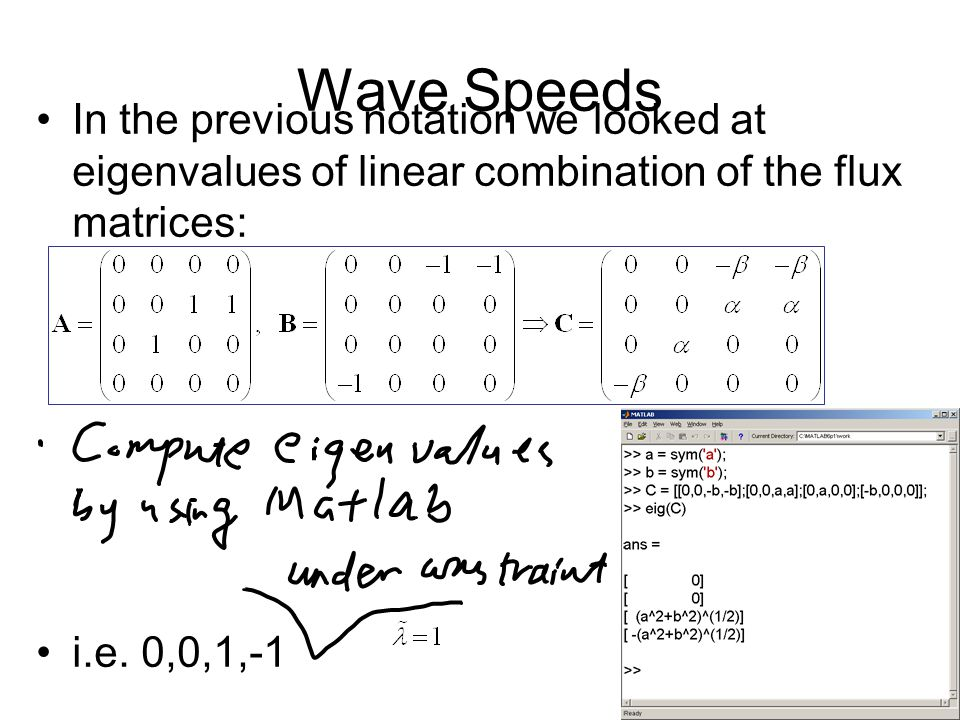 Wave Speeds In the previous notation we looked at eigenvalues of linear combination of the flux matrices: i.e.