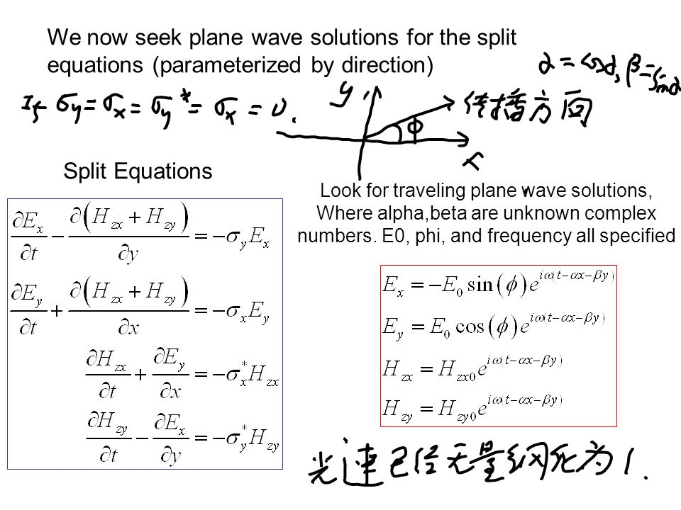 Split Equations Look for traveling plane wave solutions, Where alpha,beta are unknown complex numbers.