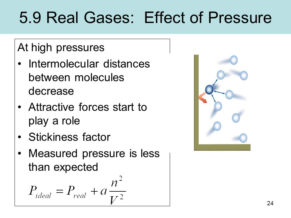 24 5.9 Real Gases: Effect of Pressure At high pressures Intermolecular distances between molecules decrease Attractive forces start to play a role Sti