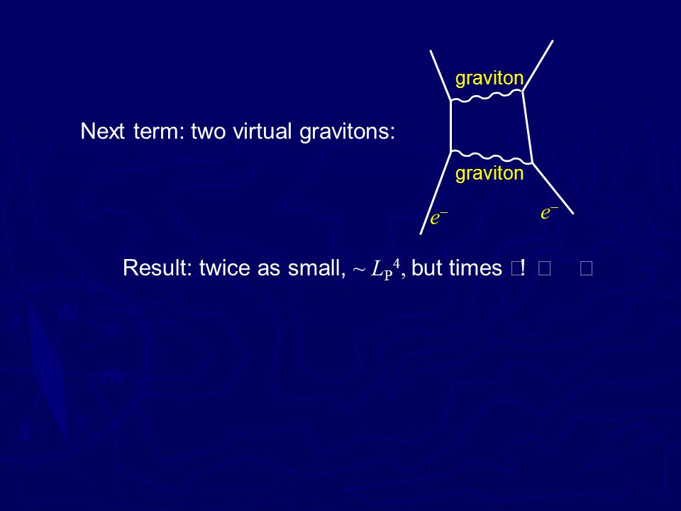 Next term: two virtual gravitons: ee ee graviton Result: twice as small, ~ L P 4, but times ∞!