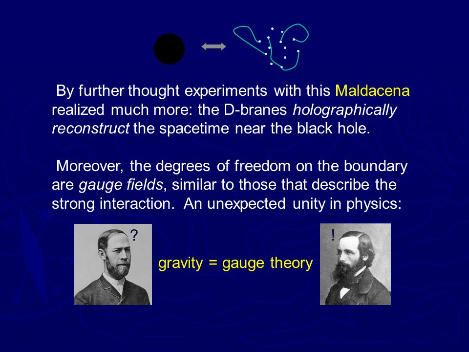 By further thought experiments with this Maldacena realized much more: the D-branes holographically reconstruct the spacetime near the black hole.