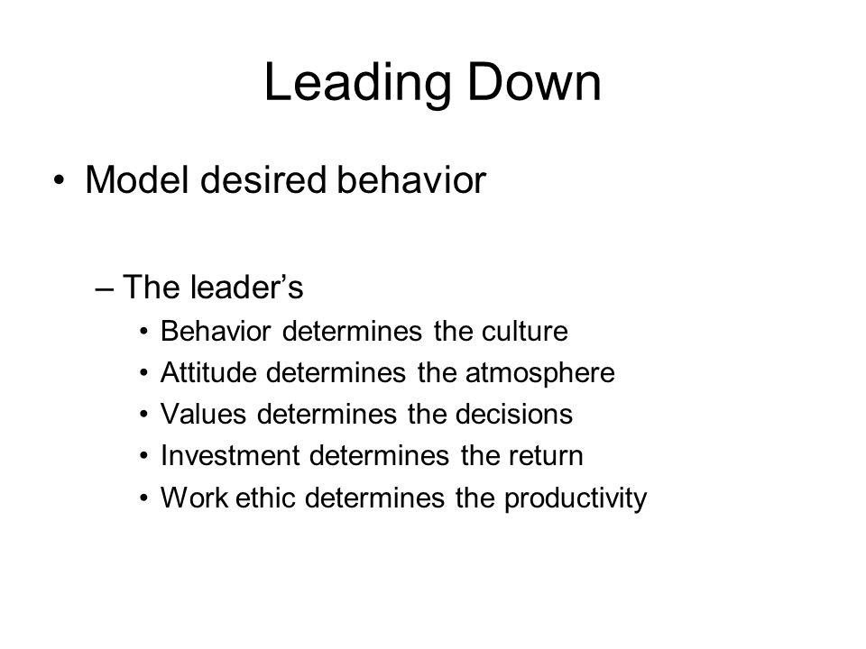 Leading Down Model desired behavior –The leader's Behavior determines the culture Attitude determines the atmosphere Values determines the decisions I