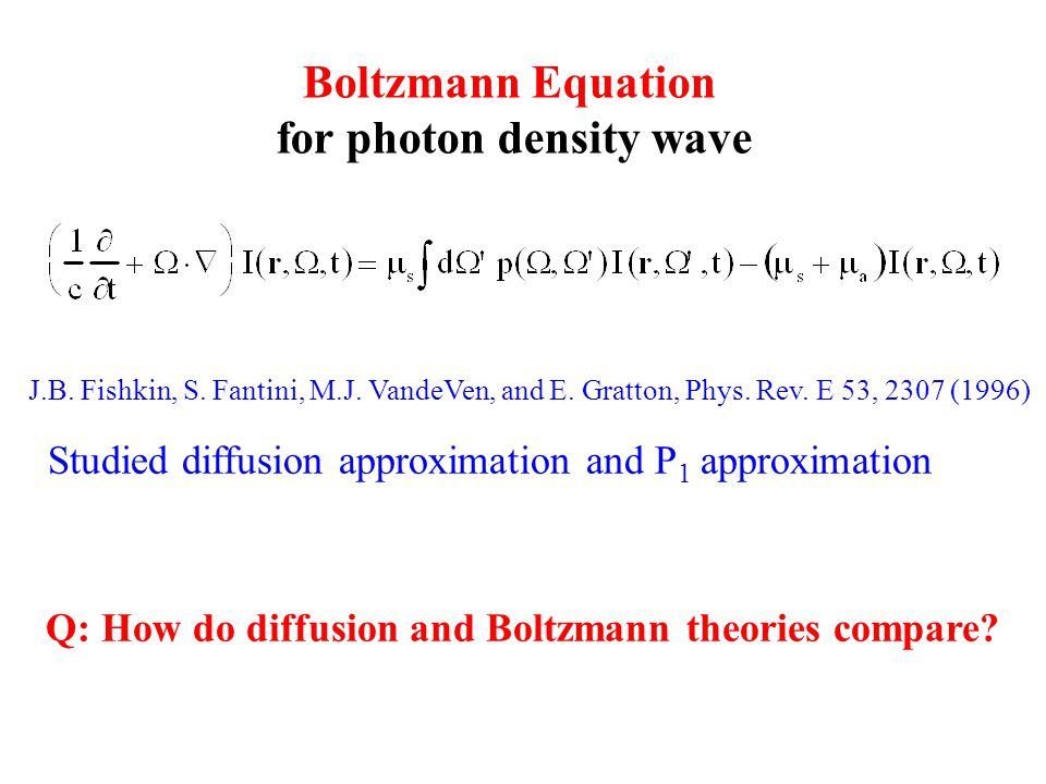 Boltzmann Equation for photon density wave J.B. Fishkin, S.
