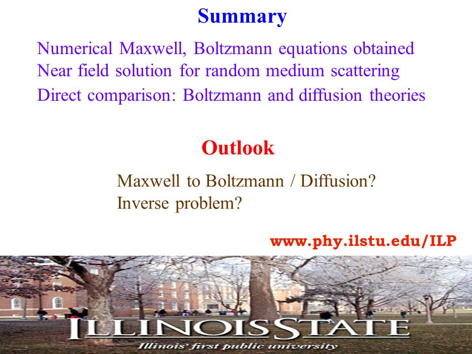Summary Numerical Maxwell, Boltzmann equations obtained Near field solution for random medium scattering Direct comparison: Boltzmann and diffusion theories Outlook Maxwell to Boltzmann / Diffusion.
