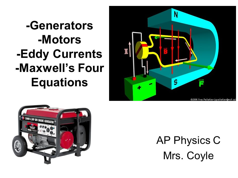 -Generators -Motors -Eddy Currents -Maxwell's Four Equations AP Physics C Mrs. Coyle