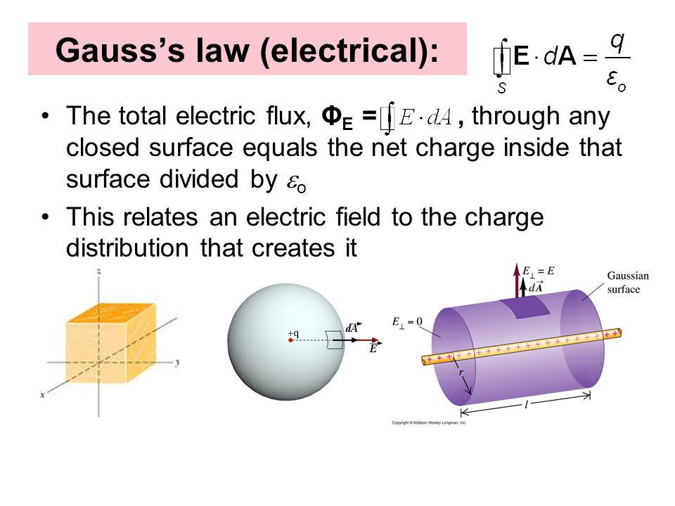 Gauss's law (electrical): The total electric flux, Φ E =, through any closed surface equals the net charge inside that surface divided by  o This rel