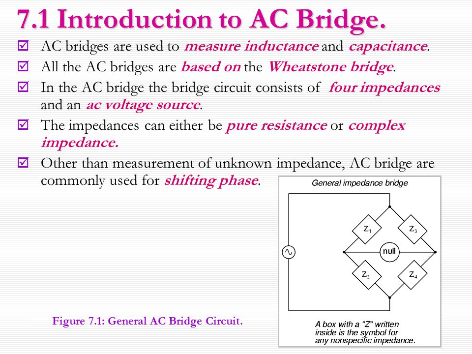 3 7.1 Introduction to AC Bridge.  AC bridges are used to measure inductance and capacitance.  All the AC bridges are based on the Wheatstone bridge.