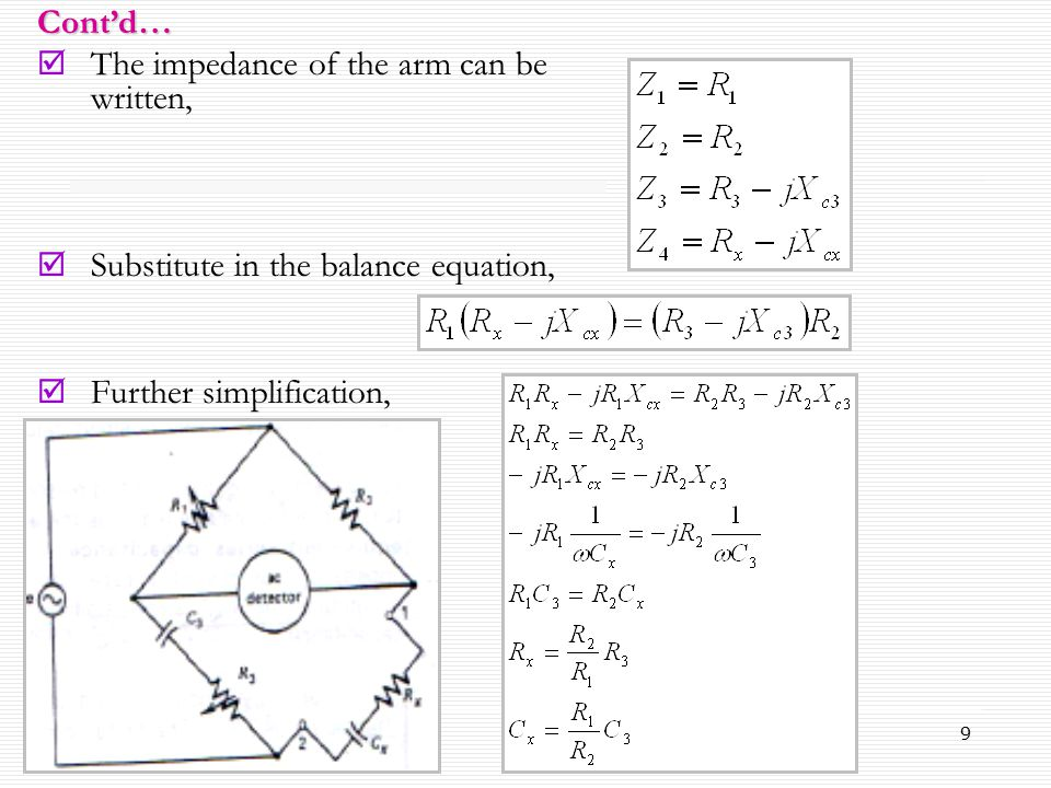 9  The impedance of the arm can be written,  Substitute in the balance equation,  Further simplification, Cont'd…