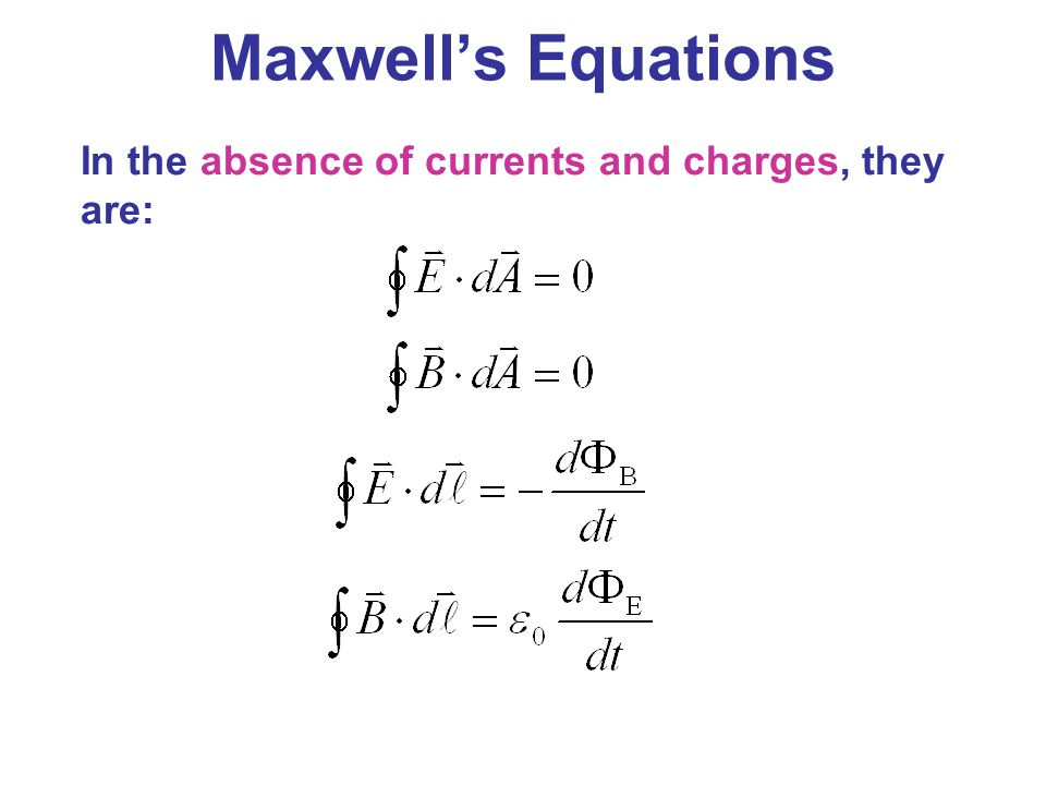 Maxwell's Equations In the absence of currents and charges, they are: